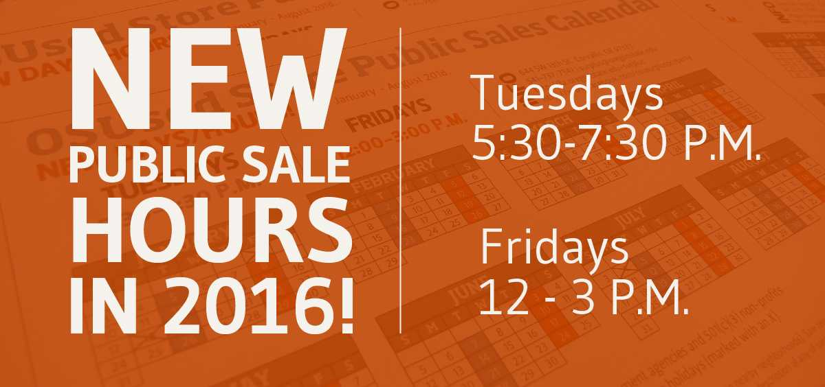 The OSUsed Store will have new public sale hours in 2016
