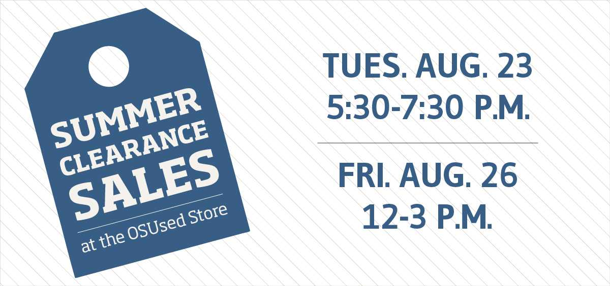 Summer Clearance Sales August 23rd & 26th